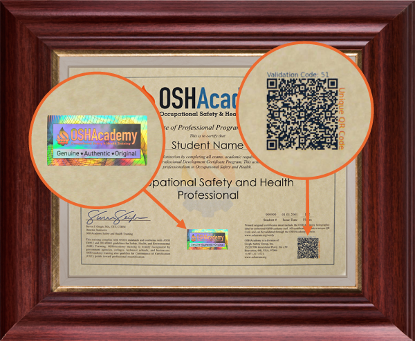 OSHAcademy Program Certificate